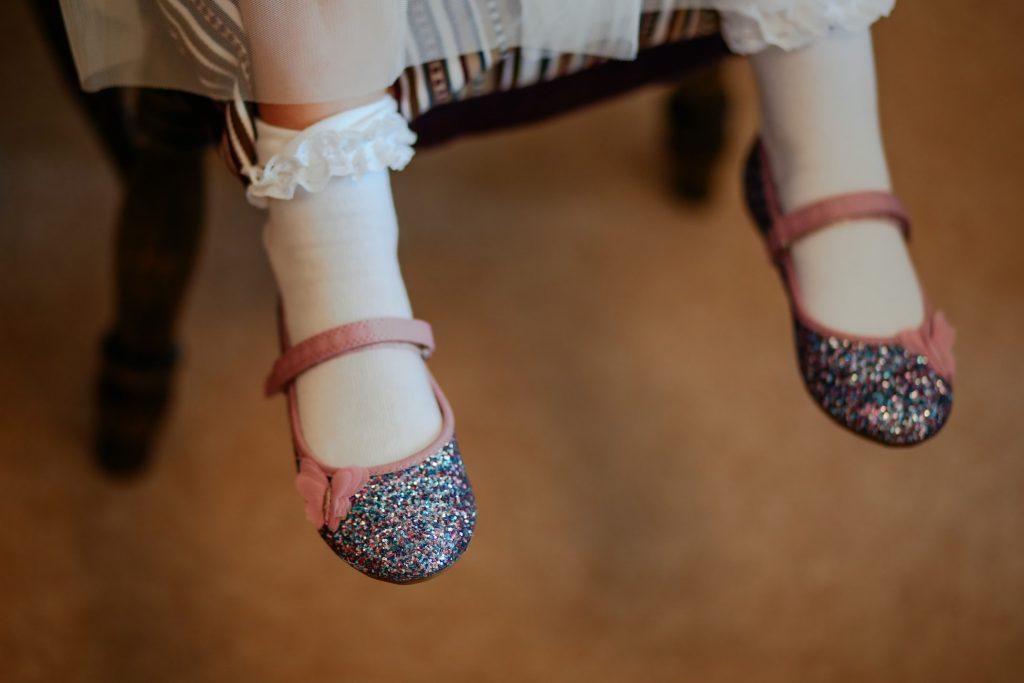 Flower girl glittery shoes