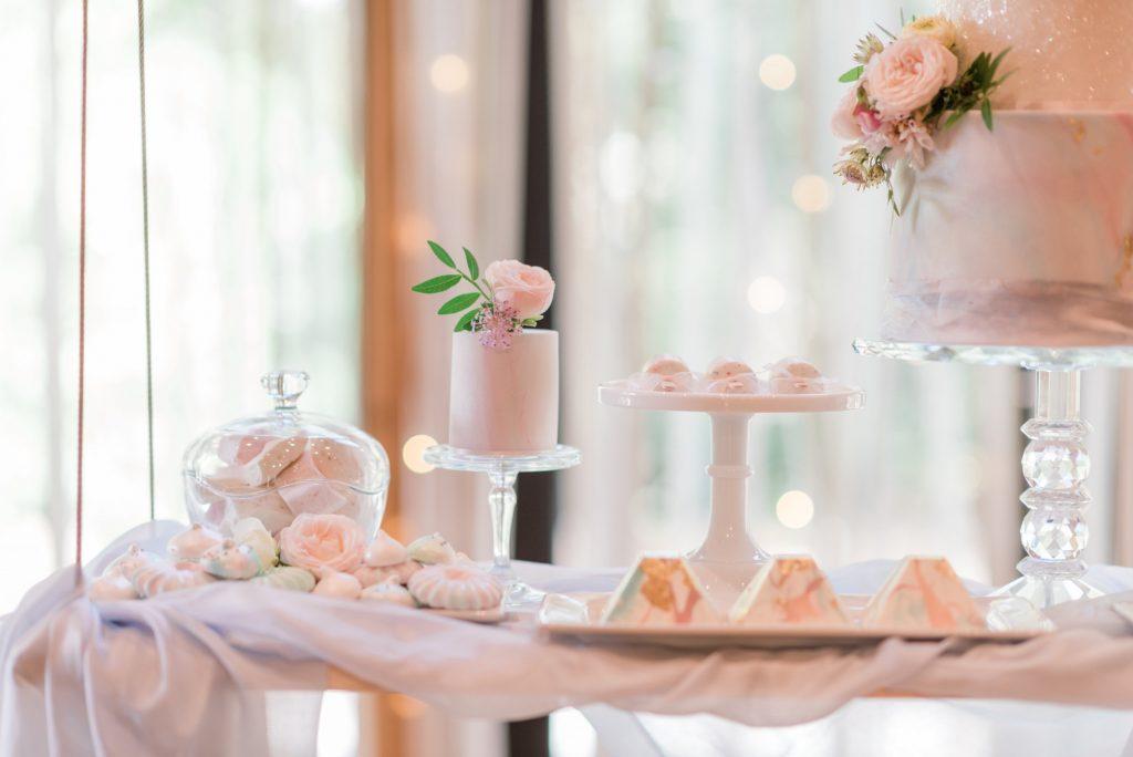 Pastel wedding dessert table