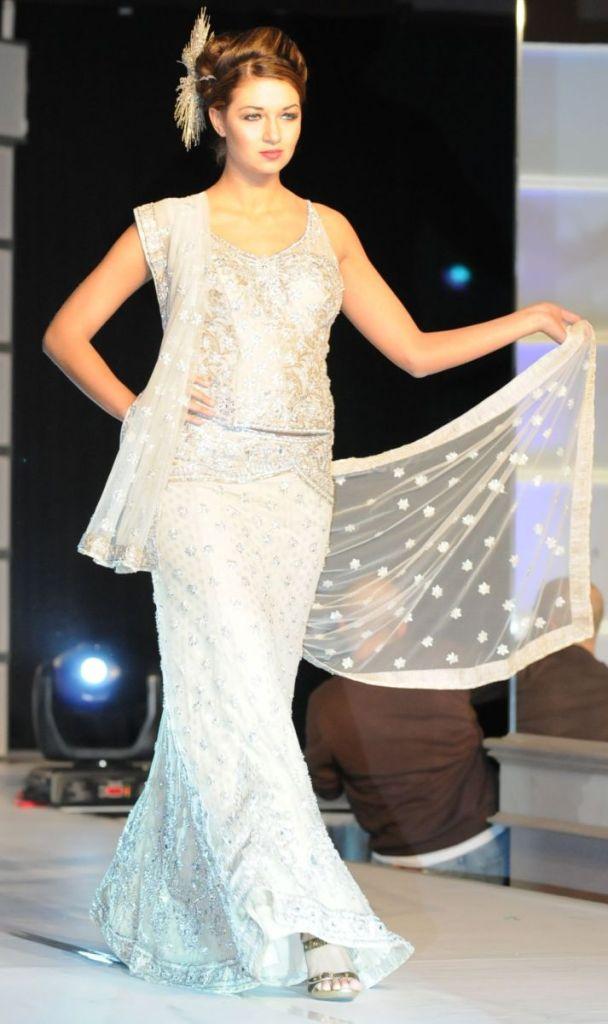 White Jeweled Bridal Formal Lehanga Designs 2016