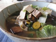 Warm Soba Noodle Soup w/ Tea Smoked Tofu & Escarole