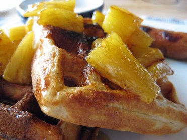 Waffles with Vanilla Bean Scented Pan Roasted Pineapple
