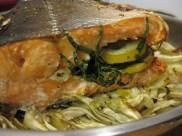 Roast Salmon with tarragon and lemon.