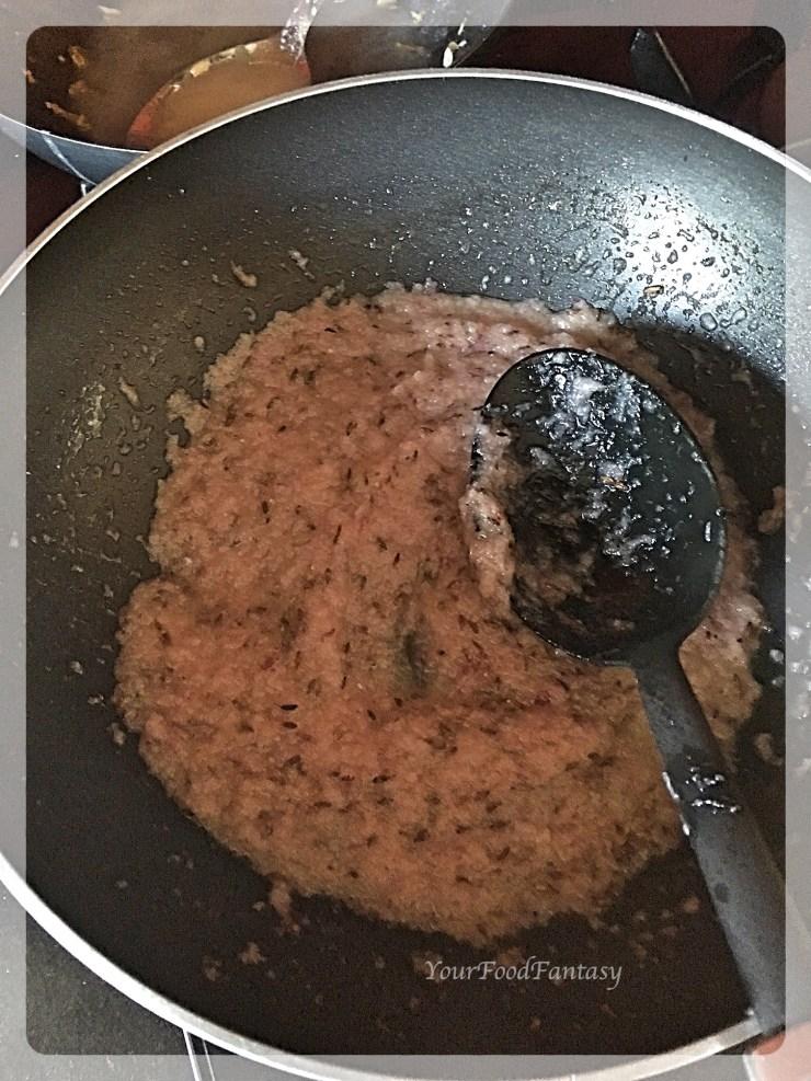 Frying Onion for Lauki Kofta | YourFoodFantasy.com