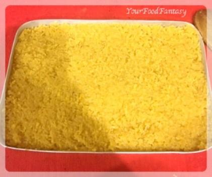 Setting the Barfi in a tray | Coconut Barfi Recipe