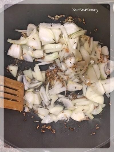 Frying Onion | Bhindi Do Pyaza | YourFoodFantasy.com
