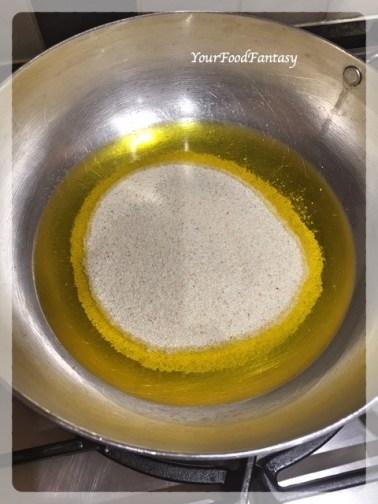 Adding Semolina - Sooji | Sooji Ka Halwa Recipe | YourFoodFantasy.com