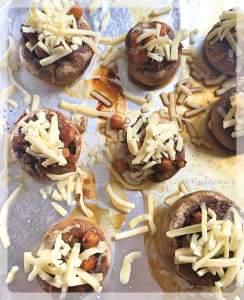 Adding Cheese | Chickpea Stuffed Mushrooms
