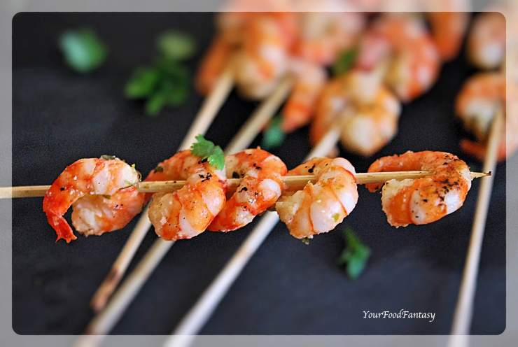 Prawn Starters Recipe | Prawn Skewers Recipe | YourFoodFantasy.com