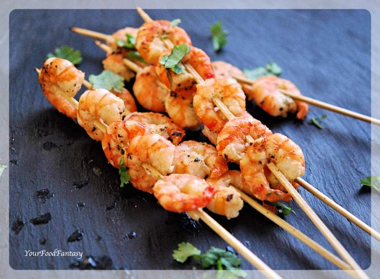 Prawn Starters Recipe | Prawn Skewers | Your Food Fantasy