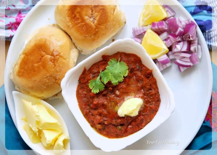 Restaurant Style Pav Bhaji Recipe | YourFoodFantasy.com