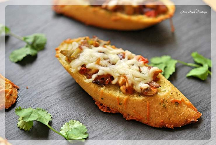 Cheesy Mushroom Bruschetta Recipe | YourFoodFantasy.com