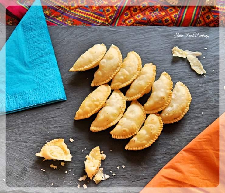 Mava Gujiya Recipe - Khoya Gujiya | YourFoodFantasy.com