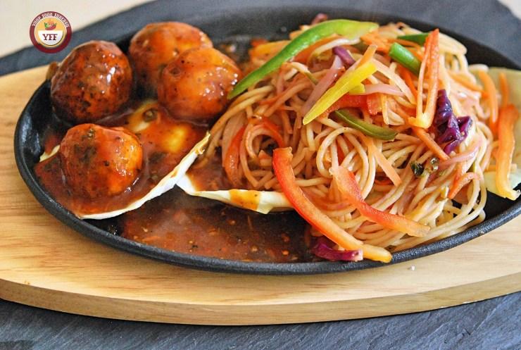 Hakka Noodles Manchurian Sizzler | YourFoodFantasy.com by Meenu Gupta