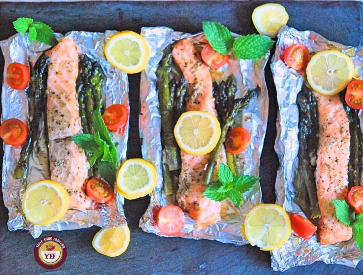 One Pot Asparagus Salmon Foil Bake | YourFoodFantasy.com