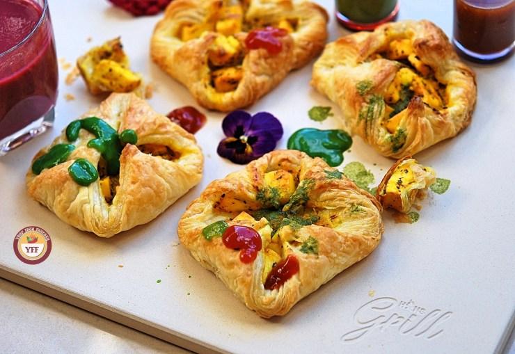 Paneer Tikka Puff Pockets Recipe | Paneer Tikka Parcels | Your Food Fantasy