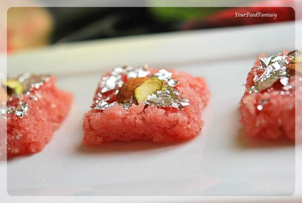 Rose Coconut Burfi | Indian Sweet Recipe | Your Food Fantasy by Meenu Gupta