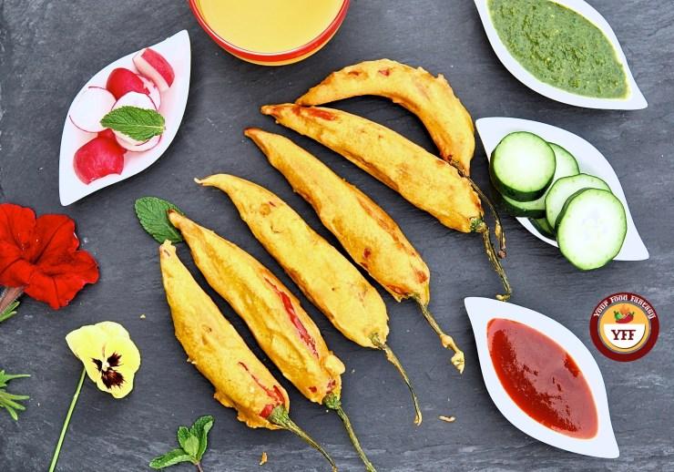 Stuffed Mirchi Pakoda   Red Chilli Fritters