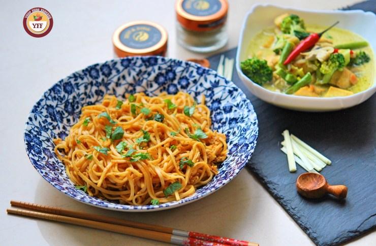 Fusion Recipe Ideas   Tandoori Egg Noodles Recipe and Green Thai Curry Recipe   YourFoodFantasy.com