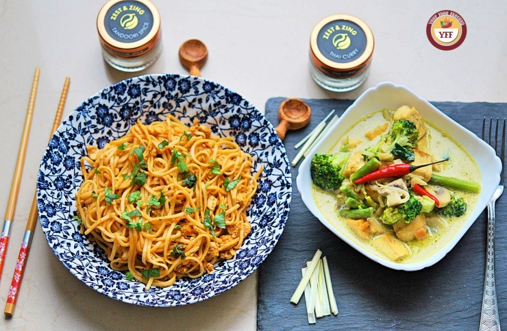 Tandoori Noodles and Green Thai Curry Recipe | Your Food Fantasy