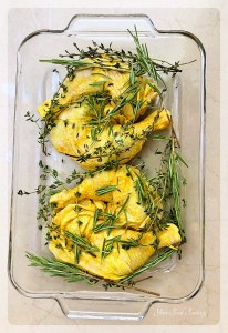 Adding Rosemary and Thyme leaves over Chicken | Your Food Fantasy