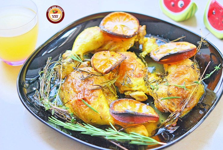 Oven baked Rosemary and Thyme Chicken legs | Easy Chicken Recipes | YourFoodFantasy.com