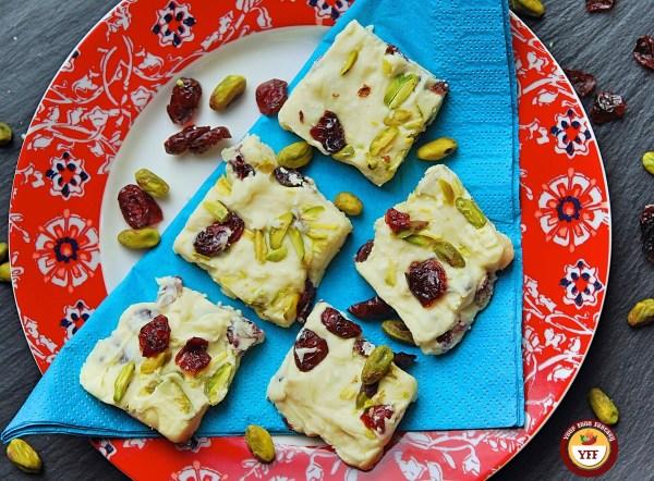 White Chocolate Cranberry Fudge Recipe | YourFoodFantasy.com by Meenu Gupta