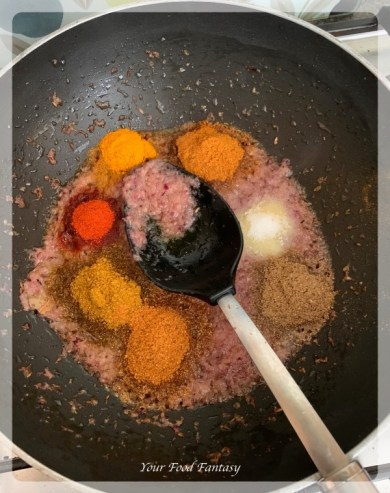 Adding Spices - Step by step mixed veg recipe