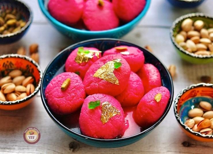 Best Rasgulla Recipe, ras gulla recipe, rose flavoured rasgullas
