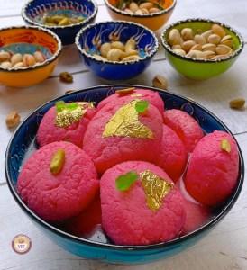 Rose flavoured Rasgullas