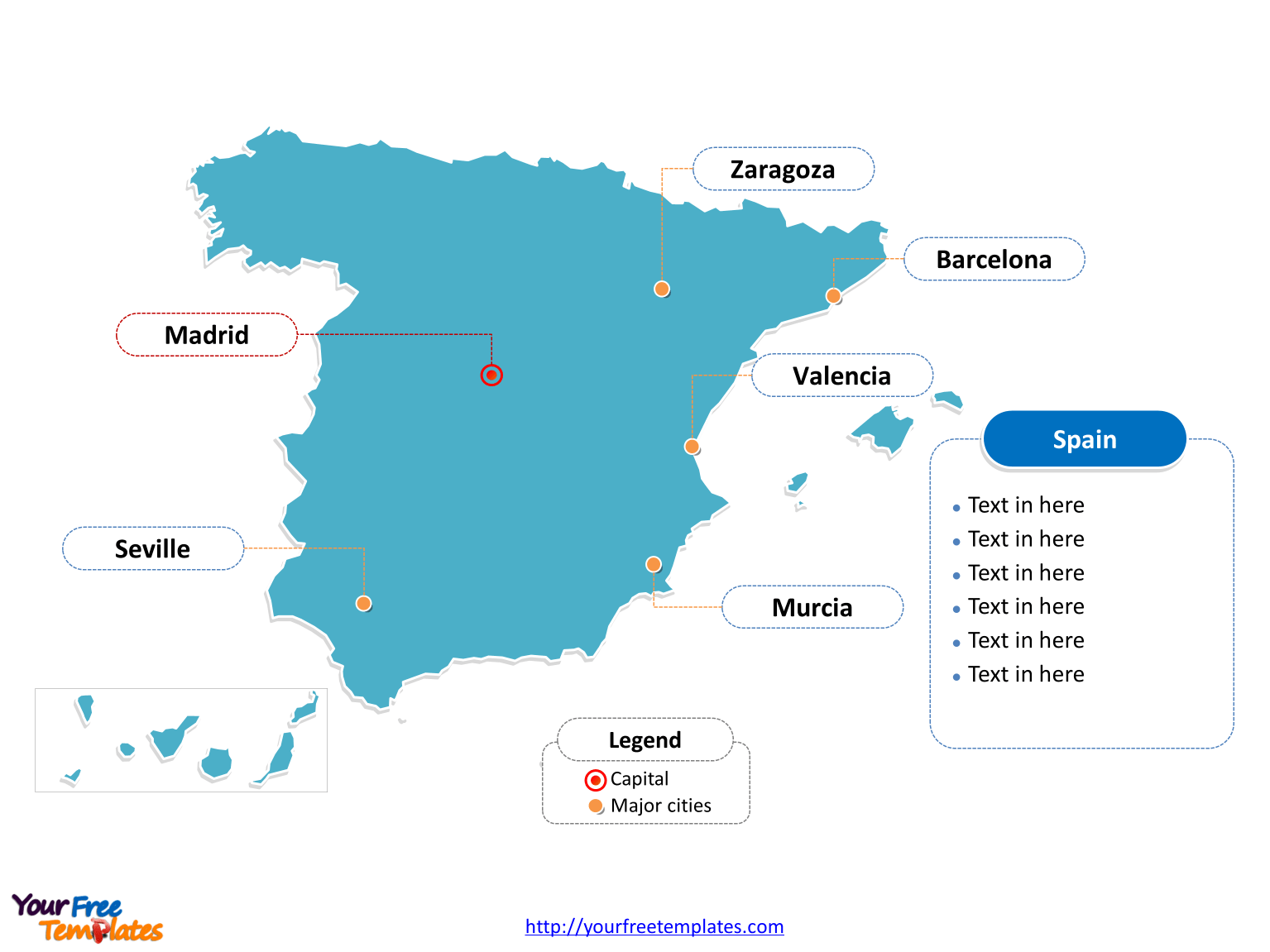 Free Spain Powerpoint Map