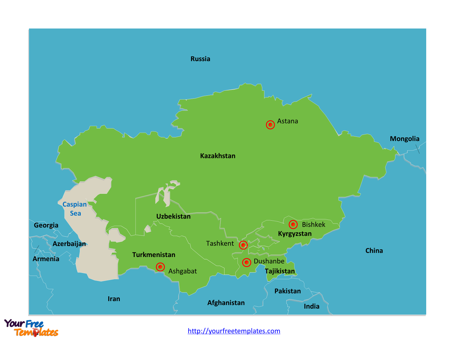 Free Central Asia And Caucasus Editable Map