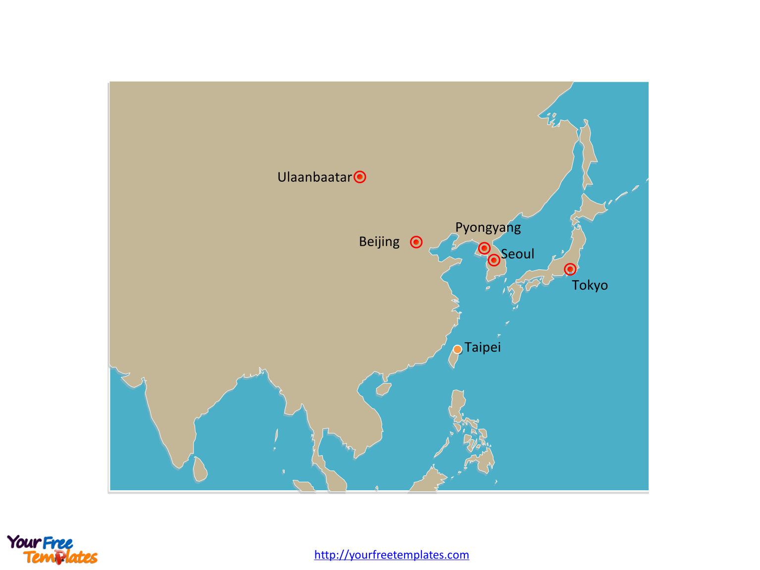 Free East Asia Map Template
