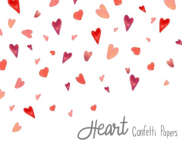 Watercolor Heart Confetti - Red