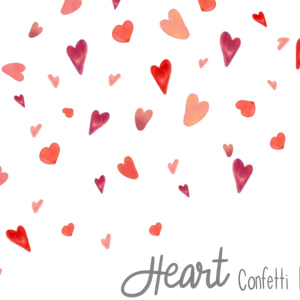 Watercolor Heart Confetti - Red
