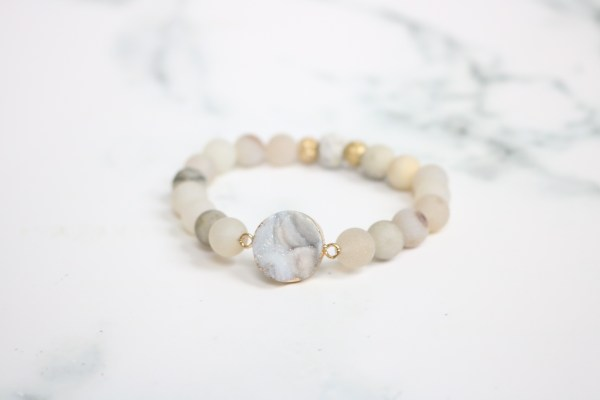 druzy stackable beaded stretch bracelet