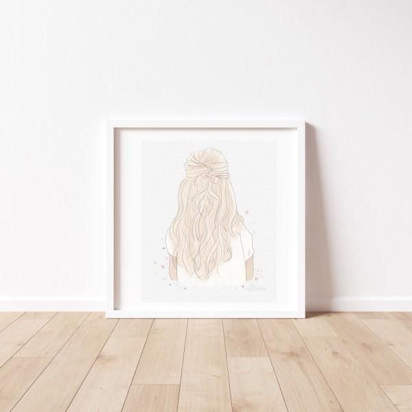 Watercolor Blonde Hair Print