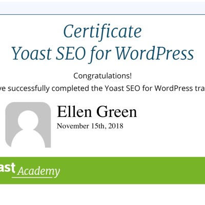Certificate from Yoast Academy for Yoast SEO for WordPress