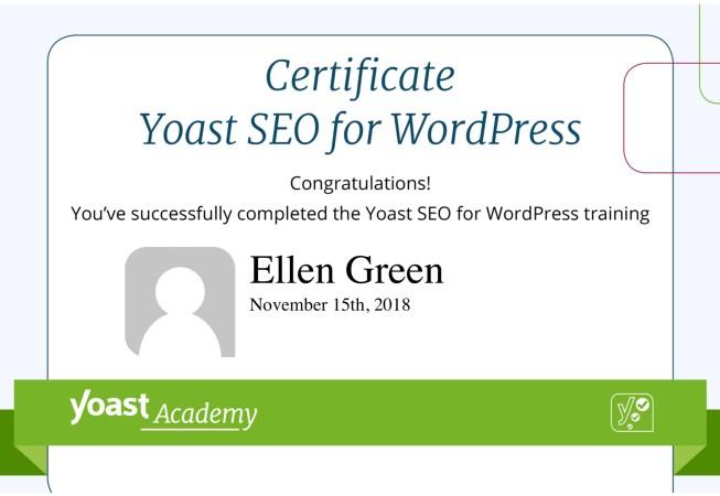 Certificate from Yoast Academy for Yoast SEO for WordPress