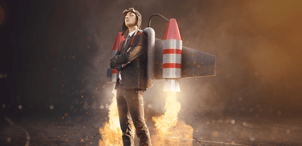 man with rocket