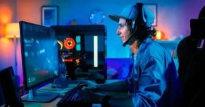 Gamer playing PC games