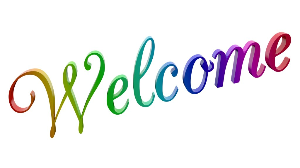 The word welcome in colourful letters