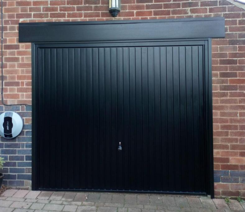 Single black Vertical ribbed door