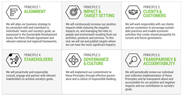 The 6 Principles for Responsible Banking from United Nations Environment Programme - Finance Initiative