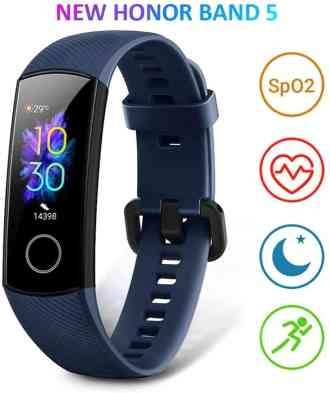 Front image of the Honor Band 5 activity tracker with the pulse oximeter, heart rate, night vision and training modes symbols