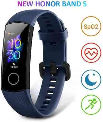 Imagen frontal de la pulsera de actividad Honor Band 5 con los simbolos de pulsioxímetro, frecuencia cardíaca, visión nocturna y modos de entrenamiento