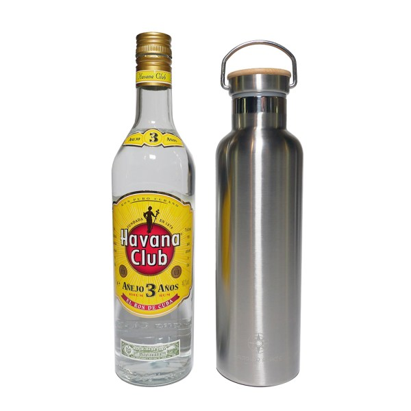750 ml Happier Place double wall insulated stainless steel bottle size comparison - fits 25oz (fifth) liquor bottle