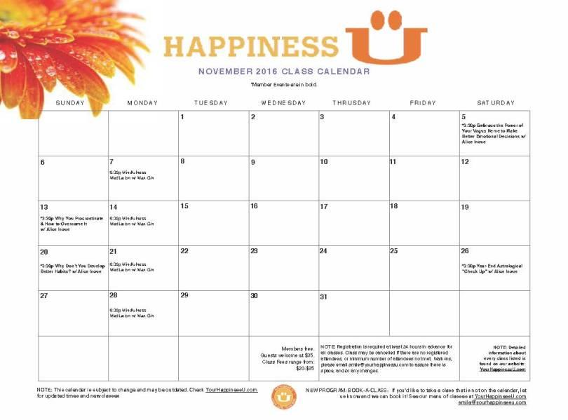 Happiness U November Events Calendar 2016