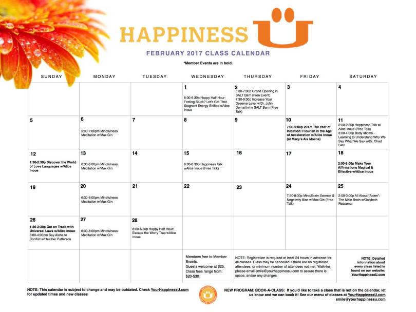 Happiness U Classes Calendar for February 2017 with orange flower