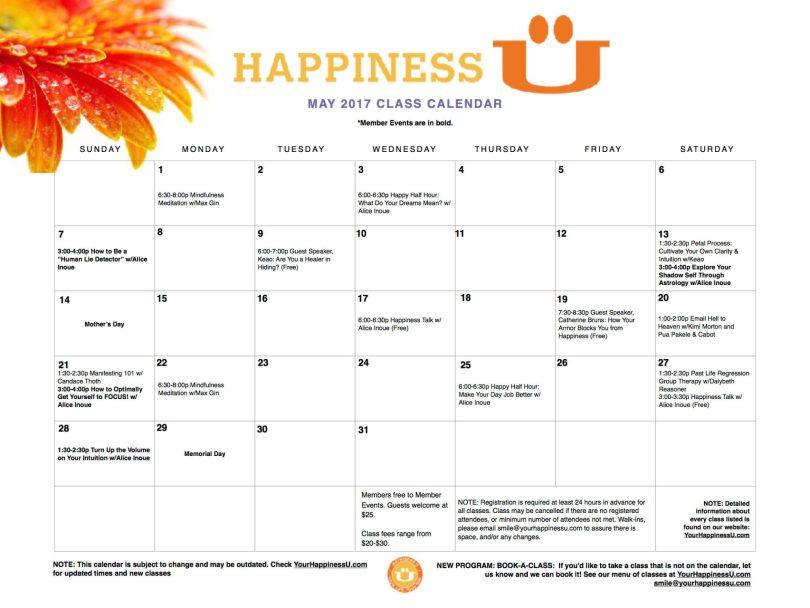 Happiness U classes May 2017 Calendar