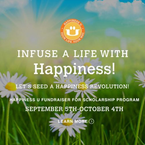 Happiness U Scholarship fundraiser kickstarter campaign 2017 Happiness revolution with graphic over field of daisies
